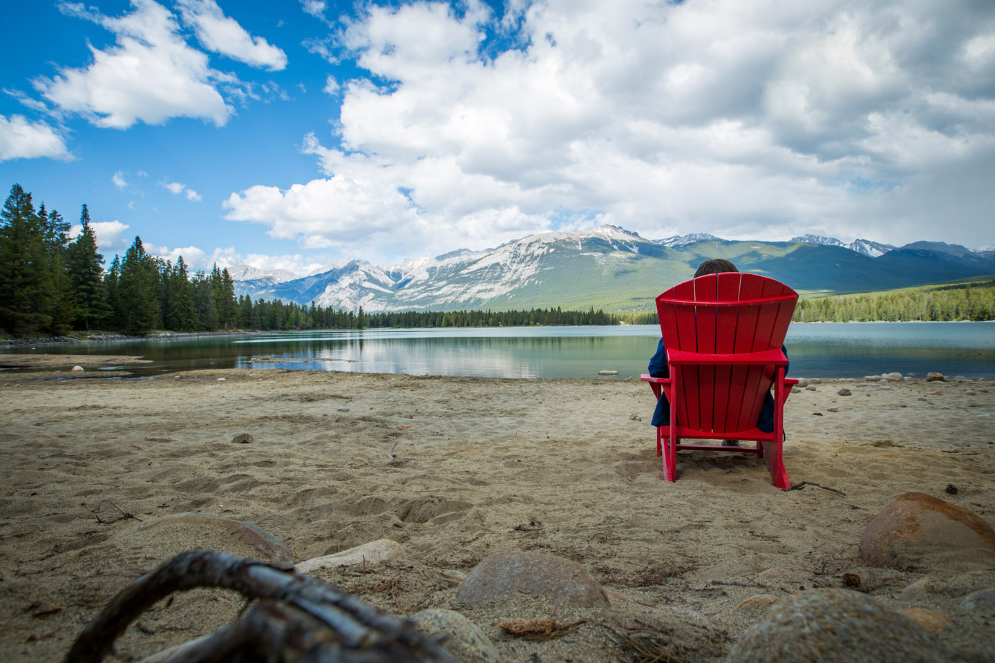 jasper national park s red chairs installed and ready for soaking