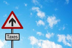 Political issue: 'sky high tax increases' concept. Photo realist