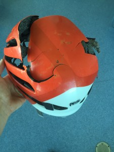 Ryan Titchener's helmet likely saved his head from being crushed by a 300 kg boulder. Photo submitted.