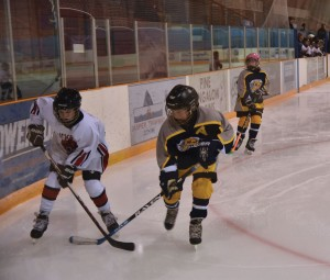 Lucas Oeggerli works the corner against a player from the Stony Plain Predators. The Jasper PeeWee Bears won 4-1. Edi Klopfenstein photo.