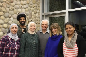 From left to right: Rola Aldakhil, Wayne Bontan, Omayea El Marawi, Hassan El Azem, instructor Angela Lemire and Sonali Kiran Vanjare. Lemire has spent the past 10 years working as an ESL instructor in Jasper for NorQuest College's LINC program. K. Byrne photo
