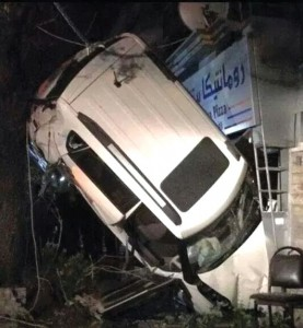 In February 2015, Reham Al Azem and her mother, Omayea El Marawi, were sitting at a café in Damascus when this vehicle crashed into a café nearly killing El Marawi. The driver of the vehicle was never charged. Submitted photo