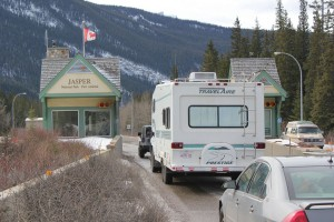 Parks Canada intends to analysis traffic coming through Jasper's east gate to determine if an express lane is warranted to ease congestion. P. Clarke photo.