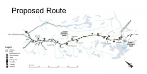 Parks Canada released the proposed route of the Icefields Trail Project on March 1. Parks Canada image.