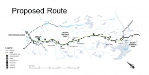 The proposed bike trail will parallel Highway 93 also known as the Icefields Parkway. Parks Canada image.