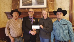 MLA Eric Rosendahl presented a $43,000 cheque to the Jasper Heritage Rodeo Association, March 10.  P. Clarke photo