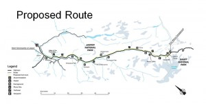The proposed route of the Icefields Trail parallels Highway 93 from Jasper to Wilcox Campground.