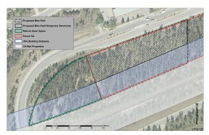 The bike park will be located along Connaught Drive across from Maligne Lodge on the west side of town. Image provided by the municipality.