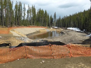 Several sediment traps like this were put in place along Apetowun Creek and Plante Creek after more than 670 million litres of contaminated water and sediment spilled from a tailings pond at the Obed Mountain Mine in 2013. Both creeks are tributaries that feed the Athabasca River.